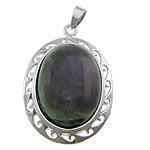 Indian Agate Pendants, with brass, Flat Oval, platinum color plated, 32x45x12mm, Hole:Approx 4x7mm, 20PCs/Lot, Sold by Lot