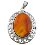 Red Agate Pendants, with brass, Flat Oval, platinum color plated, 29x39x9mm, Hole:Approx 4x7mm, 20PCs/Lot, Sold by Lot