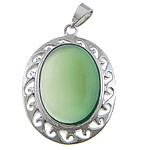 Green Agate Pendant, with brass, Flat Oval, platinum color plated, 29x39x9mm, Hole:Approx 4x7mm, 20PCs/Lot, Sold by Lot