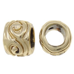 Zinc Alloy European Beads, Drum, gold color plated, without troll, nickel, lead & cadmium free, 10x7mm, Hole:Approx 5mm, approx 200PCs/Bag, Sold by Bag