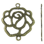 Flower Zinc Alloy Connector, antique bronze color plated, 1/1 loop, nickel, lead & cadmium free, 35.50x41x1.50mm, Hole:Approx 3mm, Approx 270PCs/KG, Sold By KG
