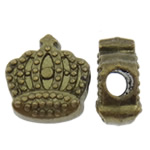 Zinc Alloy Jewelry Beads, Crown, antique bronze color plated, nickel, lead & cadmium free, 12x13x6.50mm, Hole:Approx 3.5mm, approx 370PCs/KG, Sold by KG