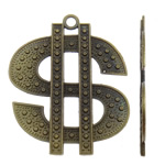 Zinc Alloy Pendants, Currency Mark, antique bronze color plated, nickel, lead & cadmium free, 46x56x2mm, Hole:Approx 3.5mm, Approx 90PCs/KG, Sold By KG