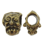 Zinc Alloy European Beads, Skull, antique bronze color plated, without troll, nickel, lead & cadmium free, 9x13x9.50mm, Hole:Approx 4.5mm, 200PCs/Bag, Sold by Bag
