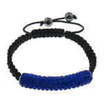 Rhinestone Shamballa Bracelets, with nylon cord &amp; double brass core &amp; hematite beads, black, 8mm, 46x9mm, Length:7-12 Inch, 10Strands/Lot, Sold by Lot