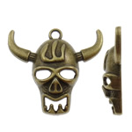 Zinc Alloy Skull Pendants, Cow, antique bronze color plated, nickel, lead & cadmium free, 34.50x31x7.50mm, Hole:Approx 2.5mm, Approx 230PCs/KG, Sold By KG