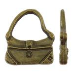 Zinklegering Handtas Hangers, Zinc Alloy, antiek brons plated, nikkel, lood en cadmium vrij, 12.50x15x2.50mm, Gat:Ca 9x7mm, Ca 1250pC's/KG, Verkocht door KG