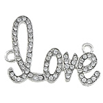 Letter Zinc Alloy Connector, word love, platinum color plated, with rhinestone & 1/1 loop, nickel, lead & cadmium free, 43x33x3mm, Hole:Approx 3mm, 50PCs/Lot, Sold By Lot