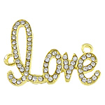 Letter Zinc Alloy Connector, word love, gold color plated, with rhinestone & 1/1 loop, nickel, lead & cadmium free, 43x33x3mm, Hole:Approx 3mm, 50PCs/Lot, Sold By Lot