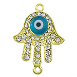 Zinc Alloy Connector, Hamsa, gold color plated, epoxy sticker & with rhinestone & 1/1 loop, nickel, lead & cadmium free, 27x29x5mm, Hole:Approx 2mm, 50PCs/Lot, Sold by Lot