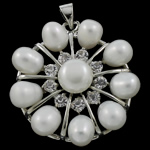 Freshwater Pearl Pendants, with Brass, Flower, natural, white, 31x34x9mm, Hole:Approx 3.5x5mm, Sold By PC