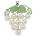 Freshwater Pearl Pendants with Green Aventurine   Brass Grape natural white 37x42x13mm Hole:Approx 3.5x5mm