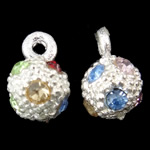 Zinc Alloy Pendants, Round, silver color plated, with rhinestone, nickel, lead & cadmium free, 6x9mm, Hole:Approx 1mm, Sold by Bag