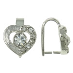 Brass Pinch Bail, Heart, platinum color plated, with rhinestone, nickel, lead & cadmium free, 10x12.50x9mm, 10PCs/Bag, Sold by Bag
