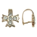 Brass Pinch Bail, Cross, rose gold color plated, with rhinestone, nickel, lead & cadmium free, 9.50x11x8mm, 10PCs/Bag, Sold by Bag