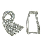 Brass Pinch Bail, Swan, platinum color plated, with rhinestone, nickel, lead & cadmium free, 16x13x8.50mm, 10PCs/Bag, Sold by Bag