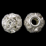 Brass European Beads, Drum, silver color plated, brass double core without troll & with rhinestone & hollow, nickel, lead & cadmium free, 16x15mm, Hole:Approx 5mm, 2PCs/Bag, Sold by Bag