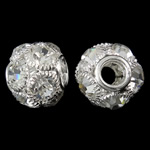 Brass European Beads, Drum, silver color plated, brass double core without troll & with rhinestone & hollow, nickel, lead & cadmium free, 17x15mm, Hole:Approx 5mm, 2PCs/Bag, Sold by Bag