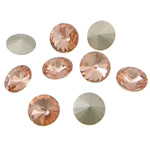 Crystal Cabochons, Flat Round, real silver plated, rivoli back, Vintage Rose, 16x16x6mm, 144PCs/Bag, Sold by Bag