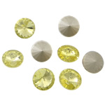 Crystal Cabochons, Flat Round, real silver plated, rivoli back, Jonquil, 16x16x6mm, 144PCs/Bag, Sold by Bag