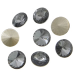 Crystal Cabochons, Flat Round, real silver plated, rivoli back, Greige, 16x16x6mm, 144PCs/Bag, Sold by Bag