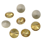 Crystal Cabochons, Flat Round, real silver plated, rivoli back, Lt Topaz, 16x16x6mm, 144PCs/Bag, Sold by Bag