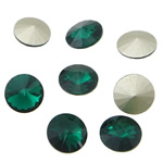Crystal Cabochons, Flat Round, real silver plated, rivoli back, Emerald, 16x16x6mm, 144PCs/Bag, Sold by Bag
