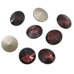 Crystal Cabochons, Flat Round, real silver plated, rivoli back, Amethyst, 16x16x6mm, 144PCs/Bag, Sold by Bag
