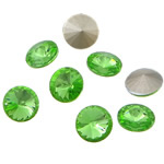 Crystal Cabochons, Flat Round, real silver plated, rivoli back, Fern Green, 16x16x6mm, 144PCs/Bag, Sold by Bag