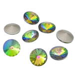 Crystal Cabochons, Flat Round, real silver plated, colorful plated & rivoli back, Crystal, 16x16x6mm, 144PCs/Bag, Sold by Bag