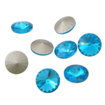 Crystal Cabochons, Flat Round, real silver plated, rivoli back, Aquamarine, 16x16x6mm, 144PCs/Bag, Sold by Bag