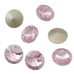 Crystal Cabochons, Flat Round, real silver plated, rivoli back, Lt Rose, 16x16x6mm, 144PCs/Bag, Sold by Bag