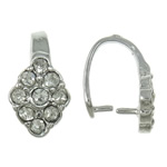 Brass Pinch Bail, Rhombus, platinum color plated, with rhinestone, nickel, lead & cadmium free, 6x12x8mm, 10PCs/Bag, Sold by Bag