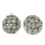 Hollow Brass Beads, Round, platinum color plated, with rhinestone, nickel, lead & cadmium free, 26x28.5mm, Hole:Approx 3mm, 2PCs/Bag, Sold by Bag
