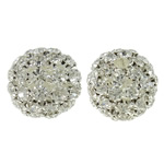 Rhinestone Brass Beads, with Brass, Flat Round, silver color plated, hollow, white, nickel, lead & cadmium free, 25.5mm, Hole:Approx 4.5mm, 2PCs/Bag, Sold By Bag