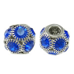 Brass European Beads, Drum, platinum color plated, brass double core without troll & with rhinestone & hollow, nickel, lead & cadmium free, 15x13.5mm, Hole:Approx 5mm, 10PCs/Bag, Sold by Bag