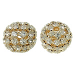 Rhinestone Brass Beads, with Brass, Drum, gold color plated, hollow, nickel, lead & cadmium free, 21x19mm, Hole:Approx 3.5mm, 2PCs/Bag, Sold By Bag