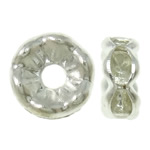 Iron Spacer Bead, silver color plated, with rhinestone, lead & cadmium free, 6x2.5mm, Hole:Approx 1mm, 100PCs/Bag, Sold By Bag