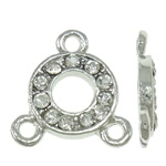 Brass Jewelry Connector, Donut, platinum color plated, with rhinestone & 1/2 loop, nickel, lead & cadmium free, 14.50x15.50x2.50mm, Hole:Approx 1.5mm, 10PCs/Bag, Sold by Bag
