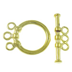 Brass Toggle Clasp, Donut, gold color plated, 3-strand, nickel, lead & cadmium free, 6x19.5x3mm, 14x18x3mm, Hole:Approx 1.5mm, 10Sets/Bag, Sold By Bag