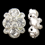 Zinc Alloy Connector, Flower, silver color plated, with rhinestone & 2-strand, nickel, lead & cadmium free, 11.50x16x6.50mm, Hole:Approx 1mm, 10PCs/Bag, Sold by Bag