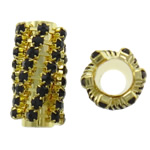 Rhinestone Brass Beads, Tube, gold color plated, with rhinestone, nickel, lead & cadmium free, 12x22mm, Hole:Approx 6mm, 10PCs/Bag, Sold By Bag