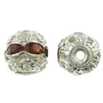 Rhinestone Brass Beads, Round, silver color plated, with rhinestone & hollow, nickel, lead & cadmium free, 6mm, Hole:Approx 1mm, 100PCs/Bag, Sold By Bag