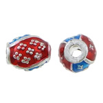 Brass Jewelry Beads, Drum, silver color plated, enamel, nickel, lead & cadmium free, 9.50x8mm, Hole:Approx 2.5mm, 250PCs/Lot, Sold by Lot