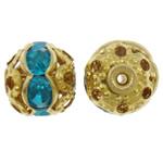 Żelazne koraliki, żelazo, Koło, Platerowane w kolorze złota, z kamieniem & pusty, bez zawartości ołowiu i kadmu, 8mm, otwór:około 1mm, 100komputery/torba, sprzedane przez torba