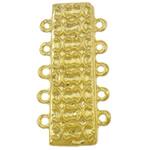 Zapięcie magnetyczne ze stopów cynku, Stop cynku, Prostokąt, Platerowane w kolorze złota, 5 żyłek, bez zawartości niklu, ołowiu i kadmu, 18x36.50x7.50mm, otwór:około 2mm, 10komputery/torba, sprzedane przez torba