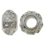 Zinc Alloy European Beads, Rondelle, platinum color plated, without troll & with rhinestone, nickel, lead & cadmium free, 14x8mm, Hole:Approx 6mm, 10PCs/Bag, Sold by Bag