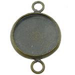 Brass Connector Setting, Flat Round, antique bronze color plated, 1/1 loop, lead & cadmium free, 14x22mm, Hole:Approx 3mm, Inner Diameter:Approx 12mm, 300PCs/Lot, Sold By Lot