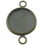 Латунная основа под коннектор, Латунь, Плоская круглая форма, Покрытие под бронзу старую, 1/1 петля, не содержит свинец и кадмий, 14x22mm, отверстие:Приблизительно 3mm, внутренний диаметр:Приблизительно 12mm, 300ПК/Лот, продается Лот