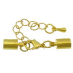 Brass Lobster Claw Cord Clasp, gold color plated, with end cap, nickel, lead & cadmium free, 34mm, 10x5mm, Inner Diameter:Approx 4.5mm, 200Sets/Lot, Sold By Lot
